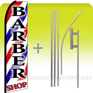 Barber Shop Swooper Flag 15 Kit Feather Banner Sign stripes Red Shop Bq