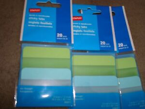 Staples Sticky Tabs 20 Pack 25317 Lot Of 3