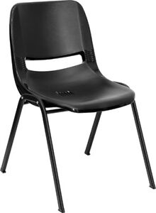 Lot 150 Black High Impact Plastic Stack Classroom Chairs With 16 Seat Height
