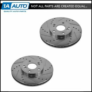 Nakamoto Performance Drilled Slotted Front Coated Brake Rotor Pair For Honda