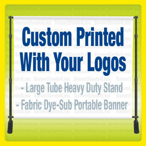 10x8 Custom Step Repeat Banner Stand Backdrop Full Color 8x10 W Fabric Printing