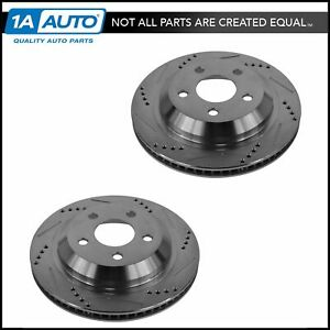 Nakamoto Performance Drilled Slotted Rear Coated Brake Rotor Pair Set For Chevy