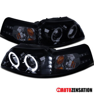 New glossy Black 1999 2004 Ford Mustang Dual Halo Led Projector Headlight Pair