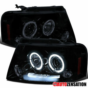 For 2004 2008 Ford F150 06 08 Mark Lt Glossy Black Led Halo Projector Headlights