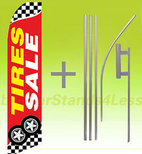 Tires Sale Swooper Flag Kit Feather Flutter Banner Sign 15 Tall Checkered Rb