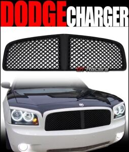 For 2006 2010 Dodge Charger Blk Luxury Badgeless Mesh Front Bumper Grill Grille