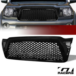 For 2005 2011 Toyota Tacoma Gloss Blk Dragon Mesh Front Hood Bumper Grill Grille