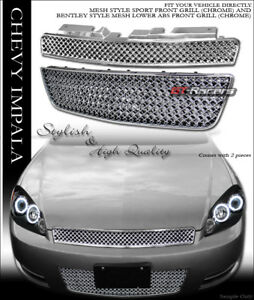 For 2006 2016 Chevy Impala Limited Chrome Mesh Front Upper Lower Bumper Grille