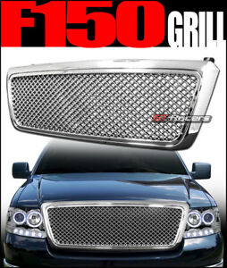 For 2004 2008 Ford F150 Chrome Luxury Mesh Front Hood Bumper Grille Guard Abs