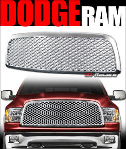 For 2009 2012 Dodge Ram 1500 Chrome Luxury Mesh Front Hood Bumper Grill Grille