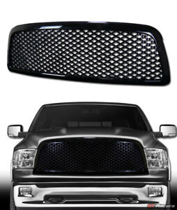 For 2009 2012 Dodge Ram 1500 Blk Luxury Mesh Front Bumper Grill Grille Guard Abs