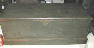 American Primitive Country Plank Wood Chest Trunk Table Art Bench Brass Hardware