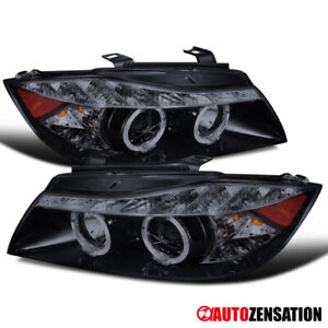 06 08 Bmw E90 3 Series 4dr Glossy Black Led Halo Projector Headlights