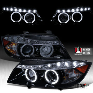 Smoke Black For 2006 2008 E90 323i 4dr Dual Halo Projector Headlights Smoke