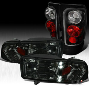 For 1994 2001 Dodge Ram 1500 2500 Pickup Smoke Headlights Black Tail Brake Lamps