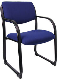 Lot Of 10 Blue Fabric Reception Guest Side Office Chairs