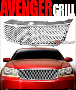 For 2008 2010 Dodge Avenger Chrome Luxury Mesh Front Hood Bumper Grille Guard