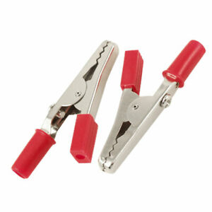 250 X Red Insulated Crocodile Alligator Clips Clamps 55mm Length