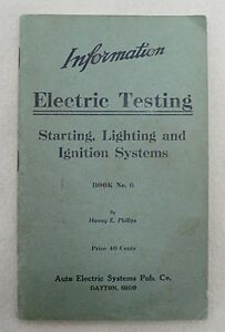 Old 1917 Automobile Electric Testing Starting Lighting Ignition Booklet