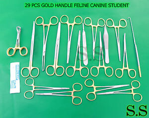 29 Pcs Gold Handle Feline Canine Student Dissection Spay Pack Kit Blades 20