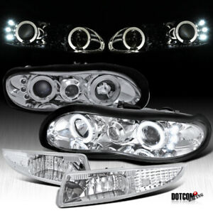 1998 2002 Chevy Camaro Led Halo Projector Headlights Clear Bumper Driving Lamps
