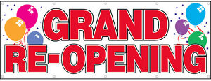 Grand Re opening Vinyl Banner Sign 3x8 Ft Balloons Wb