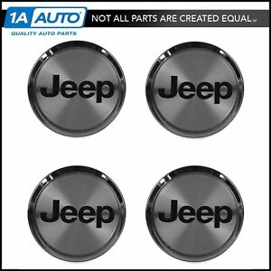 Oem Wheel Hub Center Cap Set Of 4 Chrome With Black Logo For Jeep 52080263aa New