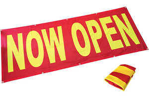 3x8 Ft Now Open Banner Sign Store Grand Opening Polyester Fabric Rb