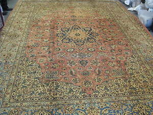 Semi Antique Persian Esfahan Rug Hand Knotted Wool 10 2 X 13 6