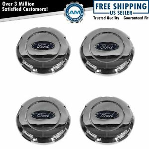 Oem Wheel Hub Center Cap With Logo Set Of 4 Chrome For Ford Expedition F150 New