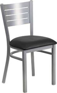Silver Slat Back Metal Restaurant Chair Black Vinyl Seat