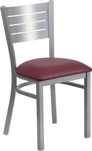 Silver Slat Back Metal Restaurant Chair Burgundy Vinyl Seat