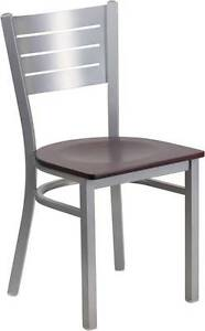 Silver Slat Back Metal Restaurant Chair Mahogany Wood Seat