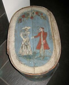 Antique Early European Toile Painted Brides Band Bentwood Box Choice