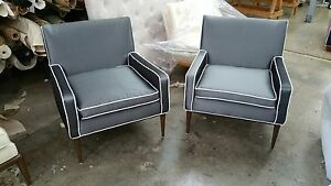 Elegant Mid Century Paul Mccobb For Directional 302 Lounge Chairs Restored