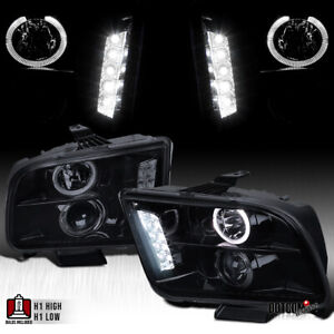 For 2005 2009 Ford Mustang Black Smoke Led Halo Projector Headlights Head Lamps