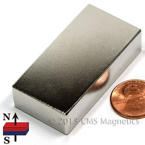 Cms Magnetics Ultra Strong N52 Neodymium Magnet 2 x 1 x 1 2 3 pc Best Seller
