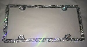 3 Row Clear Bumpie Crystal Bling License Plate Frame Made With Swarovski Element