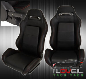 For Chevy Reclinable Bucket Seats Chairs Sport Racing bottom Mount Slider Black