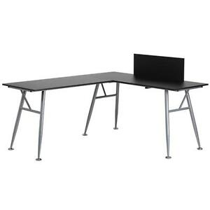 Black Laminate L shape Computer Desk With Silver Frame Finish
