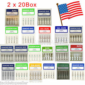 200 Pcs Dental Diamond Burs Flat end Medium Fg 1 6mm High Speed Handpiece Usa