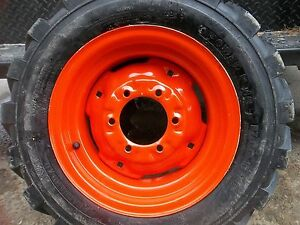 Two 27 8 50x15 Kubota L3400 Loader Skidsteer Tubeless Rim Guard Tires W wheels