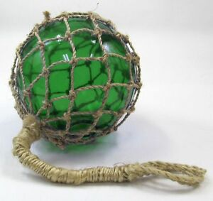 8 Green Glass Fishing Float Fish Net Buoy Nautical Maritime Decor
