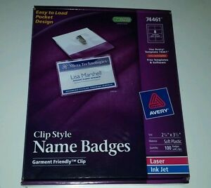 Avery 74461 Clip Style Name Badges 100 Badges With Clips 2 1 4 X 3 1 2
