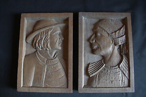 French Art Deco Folk Art Wood Hand Carved Panel Bas Relief 1930 S Quimper