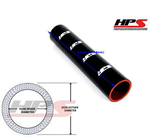 Hps 1 Foot 3 12 80mm Black 4 ply Silicone Hose Tube Coupler Intake Turbo