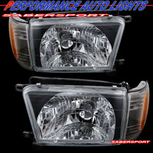 Set Of Pair Black Headlights W Corner Signal Light For 1996 1998 Toyota 4runner