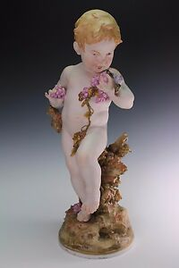 Antique French Colored Bisque Putti Angel Parian August Aug Moreau
