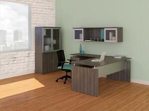 Mayline Medina Gray Steel L Desk With Hutch And Display Cabinet