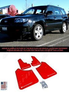 Rally Armor Ur Red Mud Flaps For 2003 2008 Subaru Forester W White Logo